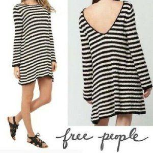 Free People Black Stripe Swing Tunic Sweater Large